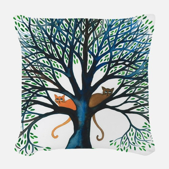 Corozal Stray Cats in Tree by  Woven Throw Pillow