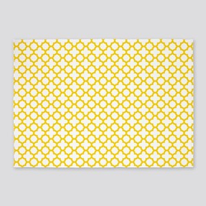 Yellow Quatrefoil Pattern 5'x7'Area Rug