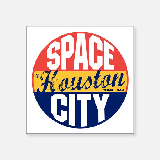 "Houston Vintage Label B Square Sticker 3"" x 3"""