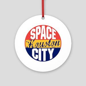 Houston Vintage Label B Round Ornament