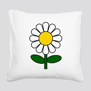 Daisy Flower Square Canvas Pillow