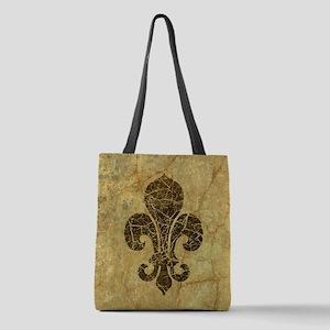 Worn Fleur De Lis Polyester Tote Bag