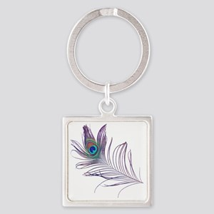 PEACOCKFEATHERshirt Square Keychain