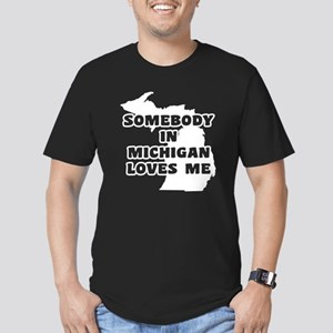 Somebody In Michigan L Men's Fitted T-Shirt (dark)