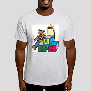 Teddy Bear & Blocks Ash Grey T-Shirt