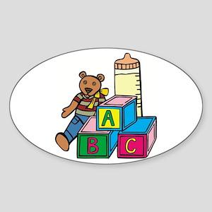Teddy Bear & Blocks Oval Sticker