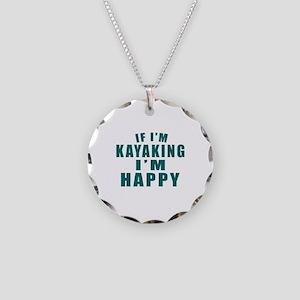 Kayaking I Am Happy Necklace Circle Charm