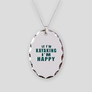 Kayaking I Am Happy Necklace Oval Charm