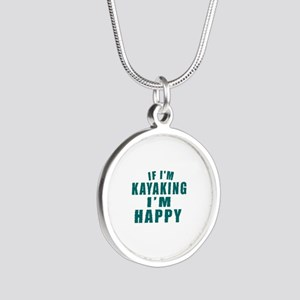 Kayaking I Am Happy Silver Round Necklace