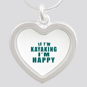 Kayaking I Am Happy Silver Heart Necklace