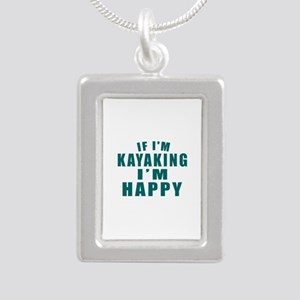 Kayaking I Am Happy Silver Portrait Necklace