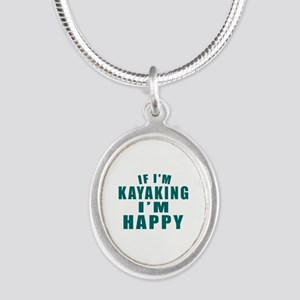 Kayaking I Am Happy Silver Oval Necklace