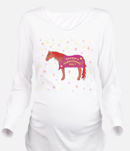 Happy Valentine Horse Long Sleeve Maternity T-Shir