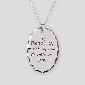 There's a boy Necklace Oval Charm