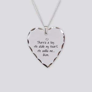 There's a boy Necklace Heart Charm
