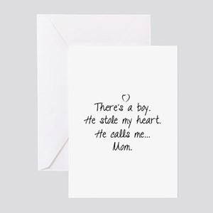 Baby boy greeting cards cafepress theres a boy greeting cards pk of 20 m4hsunfo
