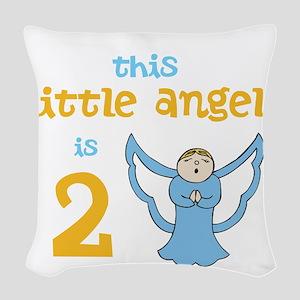 little angel custom age Woven Throw Pillow