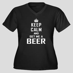 Get Me a Beer Women's Plus Size V-Neck Dark T-Shir