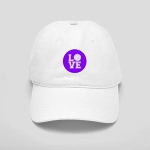 Love Volleyball, Violet Purple; Round Baseball Cap