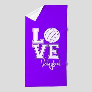 Love Volleyball, Violet Purple Beach Towel