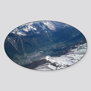 Chamonix Valley View Sticker (Oval)