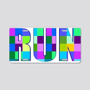Run Squares Aluminum License Plate
