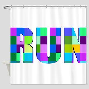 Run Squares Shower Curtain
