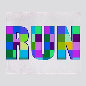 Run Squares Throw Blanket