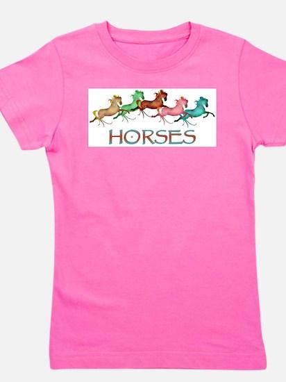 many leaping horses Girl's Tee
