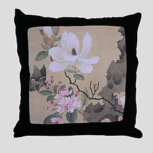 Magnolia and Erect Rock Throw Pillow
