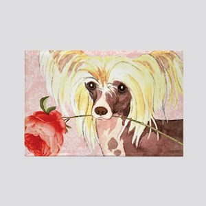 Chinese Crested Rose Rectangle Magnet