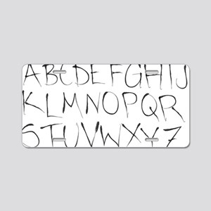 inky alphabet Aluminum License Plate