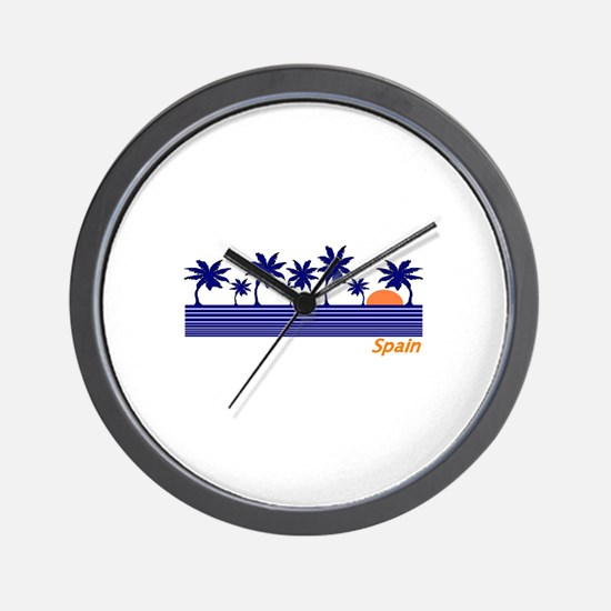 Spain Blue Palms Wall Clock