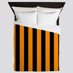 Orange And Black Stripes Queen Duvet