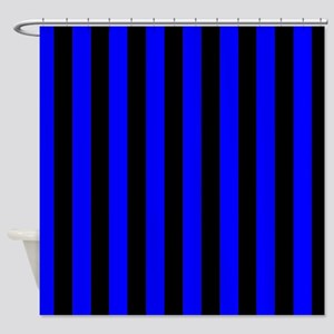 Blue And Black Stripes Shower Curtain
