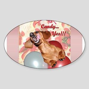 Candy Holiday Dachshund Dog Oval Sticker