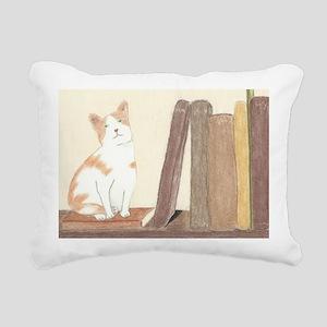 bookshelf kitty Rectangular Canvas Pillow