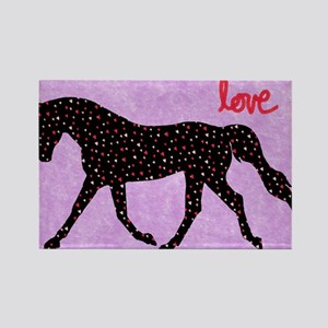 Horse Love and Hearts Rectangle Magnet