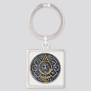 Silver and Gold Ancient Aztec Maya Square Keychain