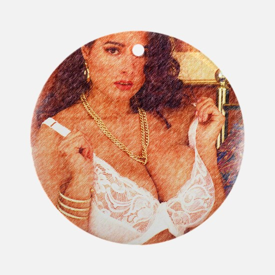 Busty Pinup Girl - Joyce Round Ornament
