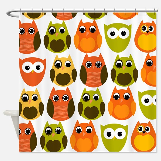 Retro Fall Owls Shower Curtain