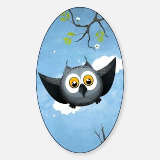 A Cute Gray Owl Sticker (Oval)