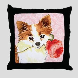 Long Coat Chihuahua Rose Throw Pillow