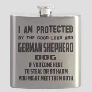 I am protected by the good lord and German S Flask