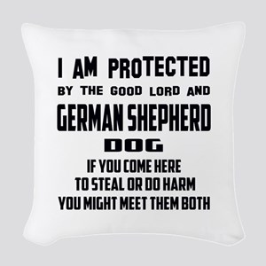 I am protected by the good lor Woven Throw Pillow