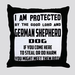 I am protected by the good lord and G Throw Pillow