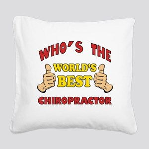 Thumbs Up Worlds Best Chiropractor Square Canvas P