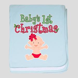 1st Christmas Baby Girl baby blanket