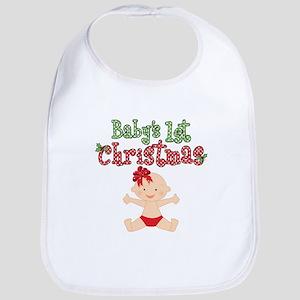 1st Christmas Baby Girl Bib
