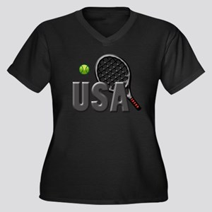 USA Tennis ( Women's Plus Size V-Neck Dark T-Shirt